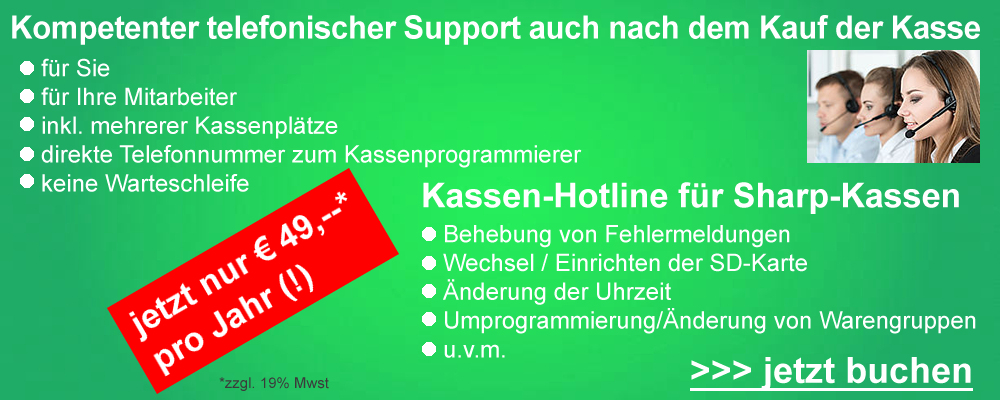 Sharp-Kassen Servicehotline